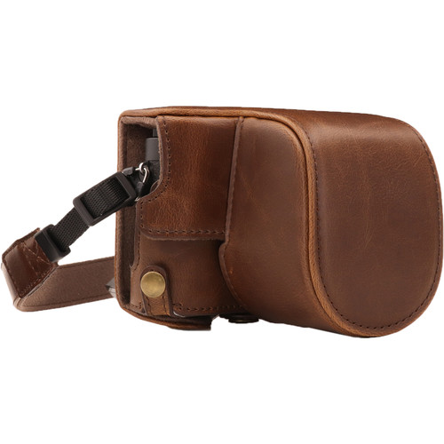 MegaGear Ever Ready PU Leather Case and Strap for Panasonic Lumix DC-GX950, DC-GF10 with 12-32mm Lens (Dark Brown)