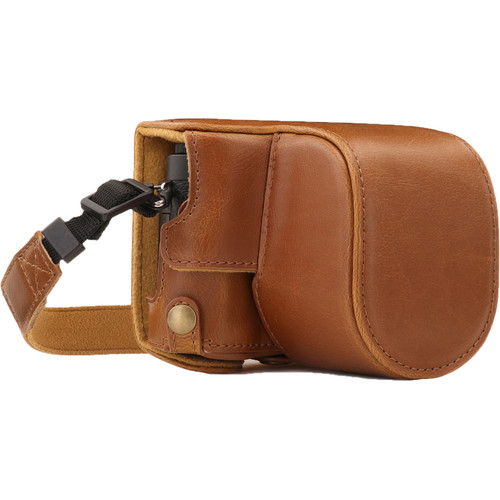 MegaGear Ever Ready PU Leather Case and Strap for Panasonic Lumix DC-GX950, DC-GF10 with 12-32mm Lens (Light Brown)