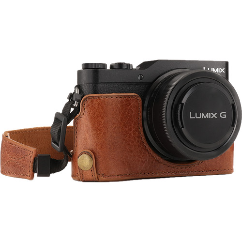 MegaGear Ever Ready Leather Half Case and Strap for Panasonic Lumix DC-GX950, DC-GF10 (Brown)