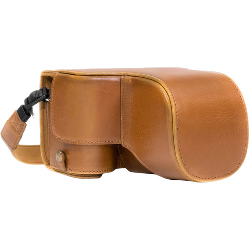 MegaGear Ever Ready PU Leather Case & Strap for Sony a6500 with 18-135mm Lens (Light Brown)