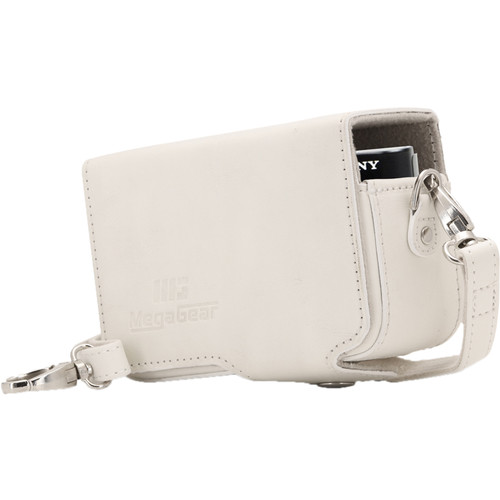 MegaGear PU Leather Case with Strap for Canon PowerShot SX740 HS, SX730 HS (White)