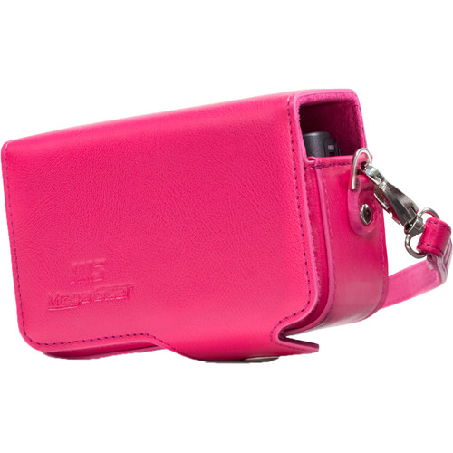 MegaGear PU Leather Case with Strap for Canon PowerShot SX740 HS, SX730 HS (Hot Pink)