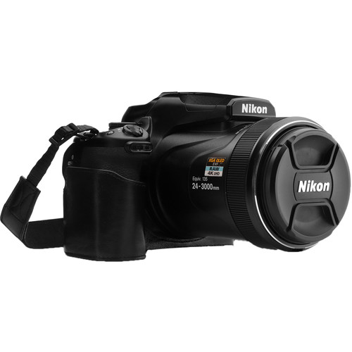 MegaGear Ever Ready Leather Half Camera Case and Strap for Nikon COOLPIX P1000 (Black)