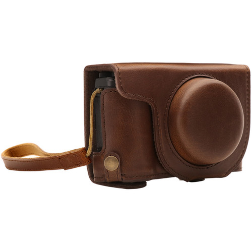MegaGear Ever Ready PU Leather Camera Case and Strap for Fujifilm XF10 (Dark Brown)
