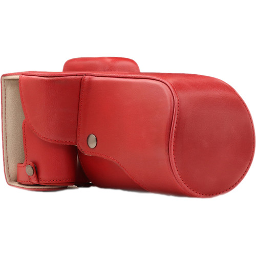 MegaGear Ever Ready PU Leather Case and Strap for Canon EOS T6s, 8000D & 18-55mm Lens (Red)