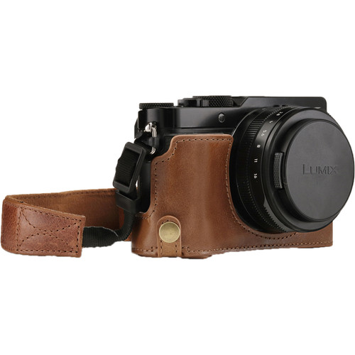 MegaGear Ever Ready Genuine Leather Half Case and Strap for Panasonic Lumix DC-LX100 II (Brown)