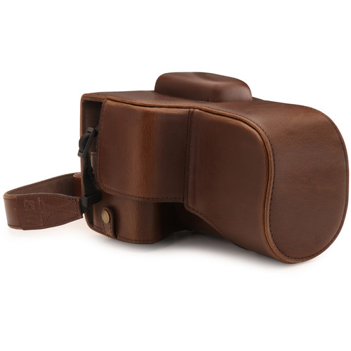 MegaGear Ever Ready PU Leather Case with Strap for Canon EOS Rebel T7, 2000D with 18-55mm (Dark Brown)