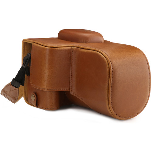 MegaGear Ever Ready PU Leather Case with Strap for Canon EOS Rebel T7, 2000D with 18-55mm (Light Brown)