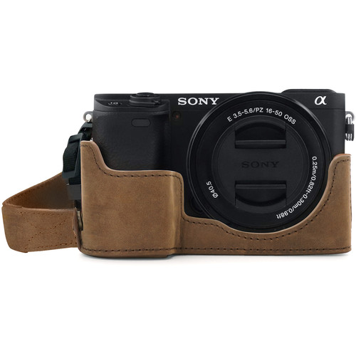 MegaGear Ever Ready Genuine Leather Camera Half Case for Sony Alpha a6400/a6100 (Cinnamon)