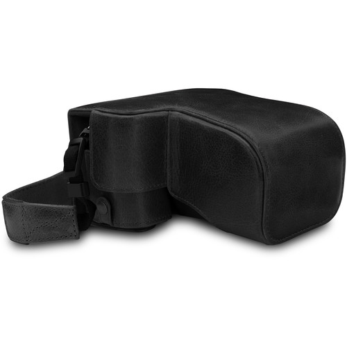 MegaGear Ever Ready Genuine Leather Case for Alpha a6400, a6100 with 18-135mm (Black)
