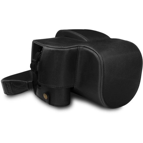 MegaGear Ever Ready PU Leather Full Camera Case for Leica V-Lux 5, Panasonic Lumix DC-FZ1000 II (Black)