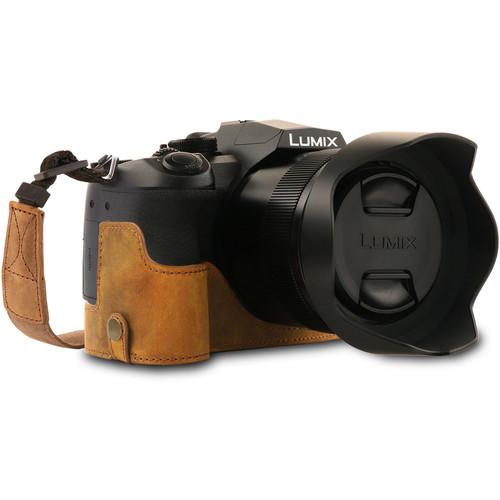 MegaGear MG1683 Ever Ready Genuine Leather Camera Half Case for Panasonic Lumix DC-FZ1000 II (Camel)