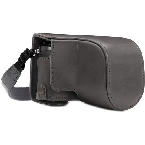 MegaGear Ever Ready Leather Camera Case for Panasonic Lumix DMC-GX85, GX80 with 12-32mm Lens (Gray)