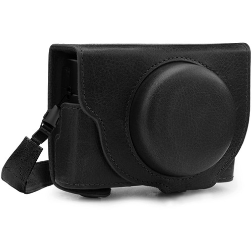 MegaGear Ever Ready Genuine Leather Camera Case for Sony Cyber-shot DSC-RX100 VII (Black)