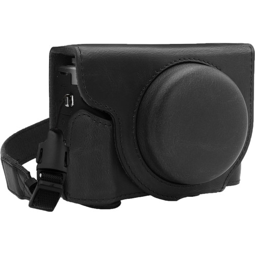 MegaGear Ever Ready PU Leather Camera Case for Canon PowerShot G7 X Mark III (Black)