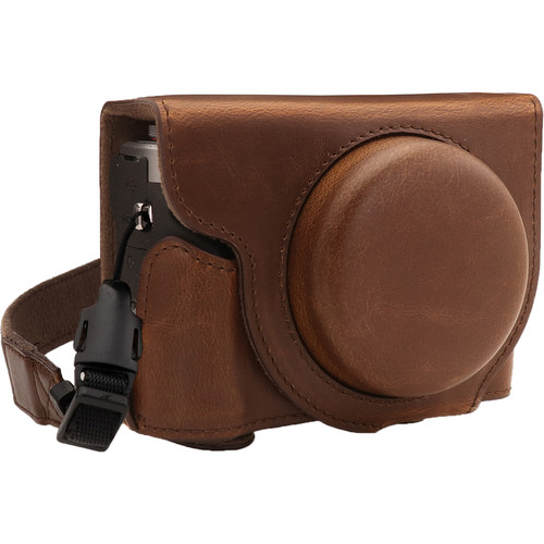 MegaGear Ever Ready PU Leather Camera Case for Canon PowerShot G7 X Mark III (Dark Brown)