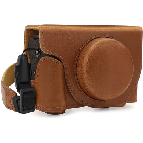 MegaGear Ever Ready PU Leather Camera Case for Canon PowerShot G5 X Mark II (Light Brown)