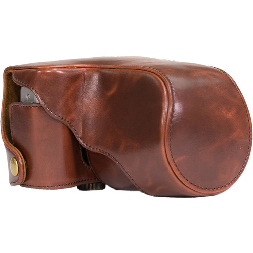 MegaGear Ever Ready Leather Camera Case for Fujifilm X-M1 & X-A1 with 16-50mm (Dark Brown)