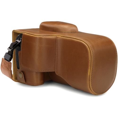 MegaGear Ever Ready PU Leather Case with Strap for Canon EOS Rebel T100 (Light Brown)