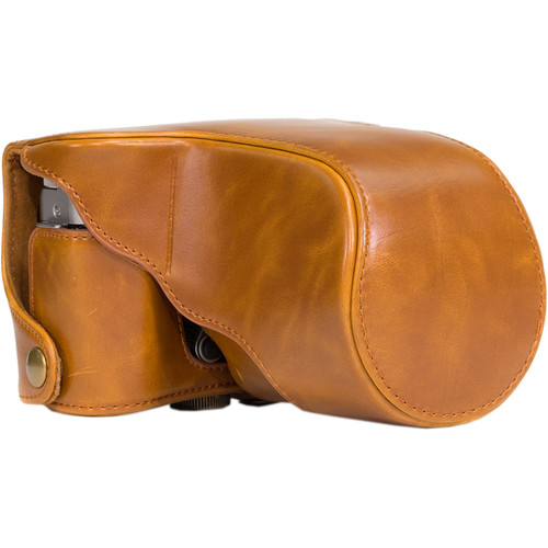 MegaGear Ever Ready Leather Camera Case for Fujifilm X-M1 & X-A1 with 16-50mm (Light Brown)