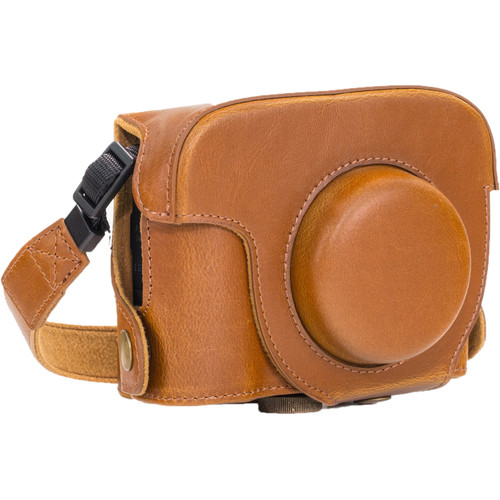 MegaGear PU Leather Camera Case and Strap for Canon PowerShot G16 (Light Brown)
