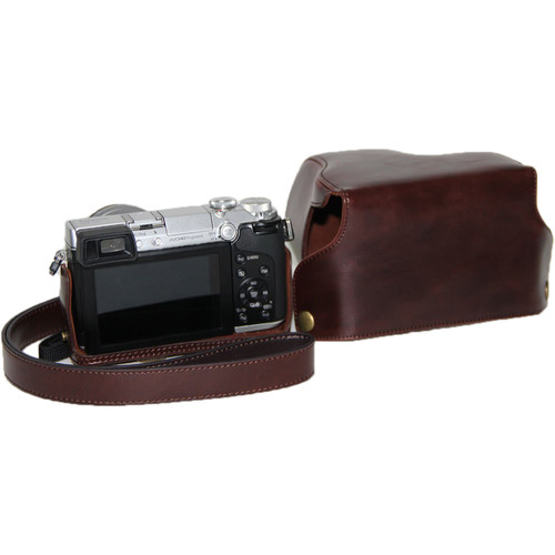 MegaGear Ever Ready Protective Leather Camera Case for Panasonic Lumix DMC-GX7 (Dark Brown)