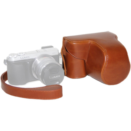 MegaGear Ever Ready PU Leather Case and Strap for Panasonic LUMIX GX7 (Light Brown)