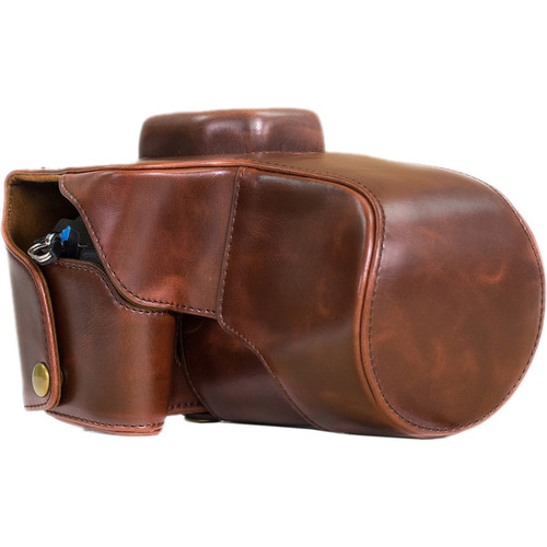 MegaGear Ever Ready Leather Camera Case with Strap for Olympus OM-D E-M1 with 12-40mm Lens (Dark Brown)
