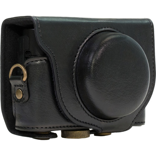 MegaGear Ever Ready PU Leather Camera Case and Strap for Sony Cyber-shot DSC-RX100 VI, V, IV, III (Black)