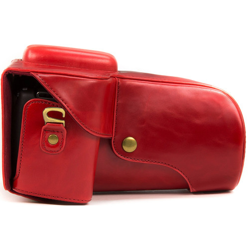 MegaGear Ever Ready PU Leather Case for Canon T6, T5i, T4i with 18-55, 18-135mm Lens (Red)