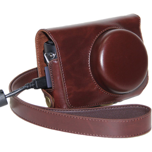 MegaGear Ever Ready PU Leather Camera Case for Casio Exilim Ex-10 (Dark Brown)
