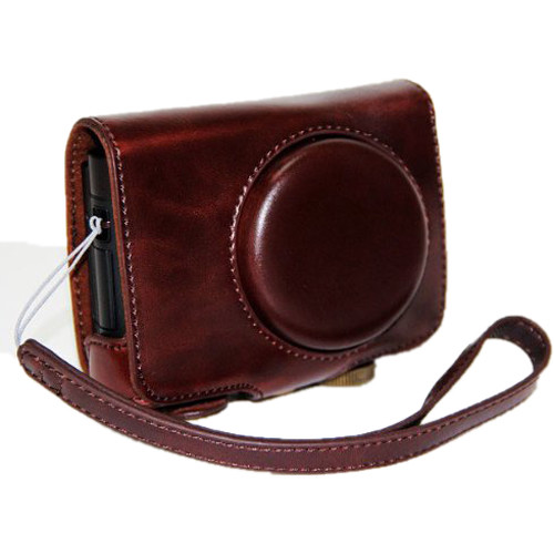 MegaGear Ever Ready PU Leather Camera Case with Strap for Panasonic Lumix DMC-LF1 (Dark Brown)