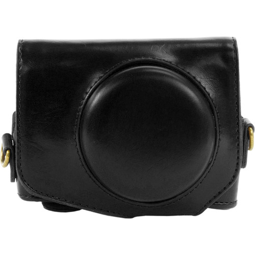 MegaGear Ever Ready PU Leather Camera Case with Strap for Canon PowerShot G7 X (Black)
