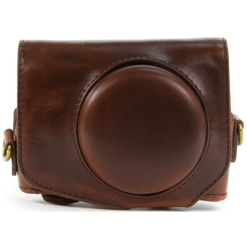 MegaGear Ever Ready PU Leather Camera Case with Strap for Canon PowerShot G7 X (Dark Brown)
