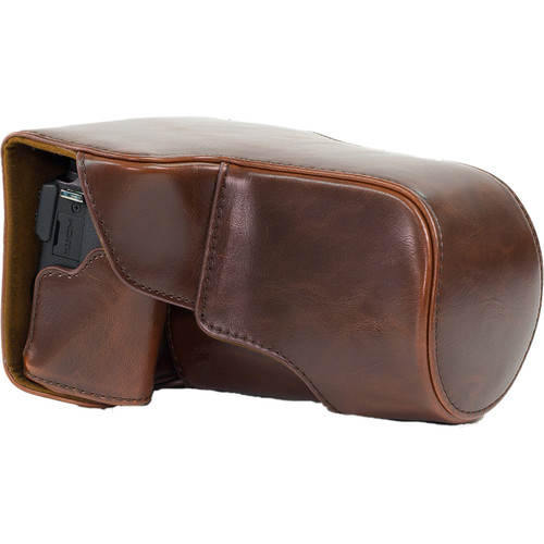 MegaGear Ever Ready Leather Camera Case for Canon EOS M3 with 18-55/55-200mm (Dark Brown)