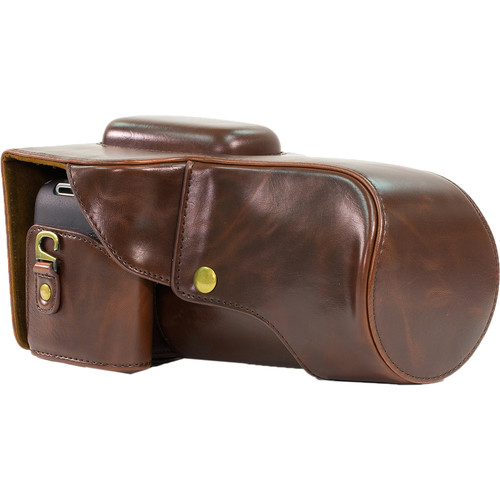 MegaGear Ever Ready PU Leather Camera Case with Strap for Canon EOS T6i, T6s, 800D (Dark Brown)