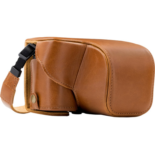 MegaGear Ever Ready Genuine Leather Case and Strap for Sony a6000/a6300 with 16-50mm (Dark Brown)