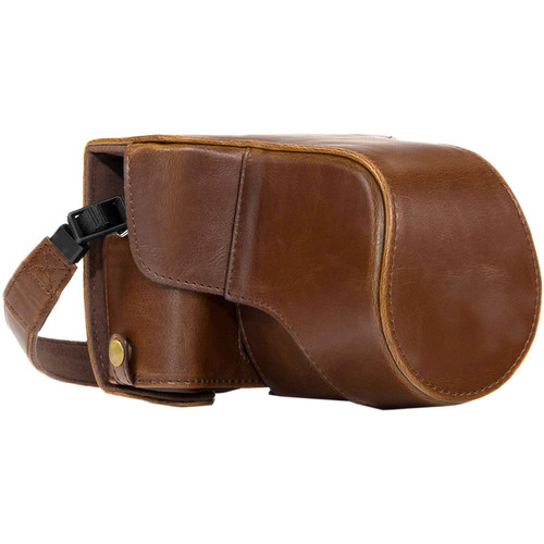 MegaGear Ever Ready PU Leather Case and Strap for Fujifilm X-T30, X-T20, X-T10 & 15-50, 18-55mm Lens (Dark Brown)