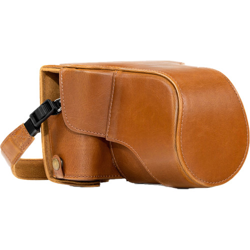 MegaGear Ever Ready PU Leather Case and Strap for Fujifilm X-T20, X-T10 and 15-50, 18-55mm Lens (Light Brown)