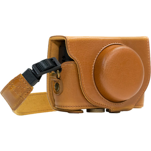 MegaGear Ever Ready PU Leather Camera Case and Strap for Sony Cyber-shot DSC-RX100 VI, V, IV (Light Brown)