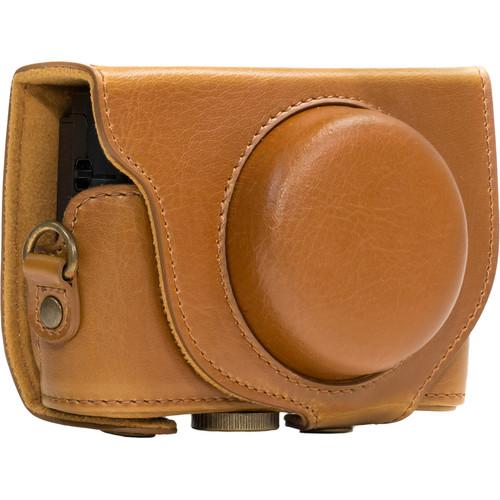 MegaGear Ever Ready Leather Camera Case for Sony Cyber-shot DSC-HX90V or DSC-HX80B (Light Brown)