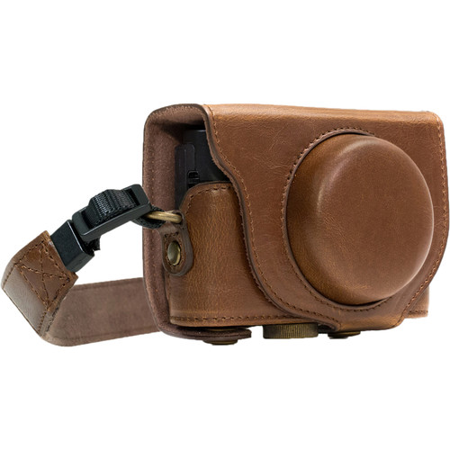 MegaGear Ever Ready PU Leather Camera Case and Strap for Sony Cyber-shot DSC-WX500 (Dark Brown)