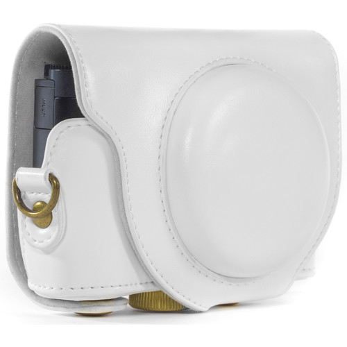 MegaGear Ever Ready PU Leather Camera Case and Strap for Sony Cyber-shot DSC-WX500 (White)