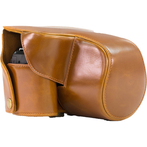 MegaGear Ever Ready PU Leather Camera Case with Strap for Panasonic Lumix DMC-FZ200 (Light Brown)