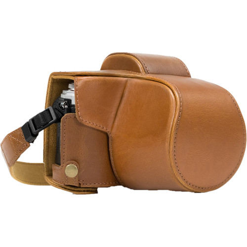 MegaGear MG637 Ever Ready Leather Case with Bottom Opening for Olympus OM-D E-M10 Mark II, 14-42mm (Light Brown)