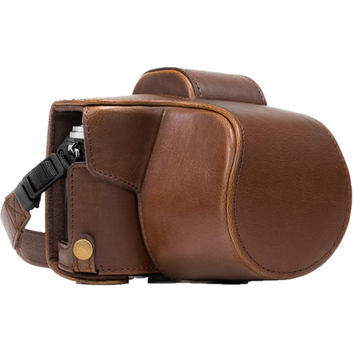MegaGear MG638 Ever Ready Leather Case with Bottom Opening for Olympus OM-D E-M10 Mark II, 14-42mm (Dark Brown)