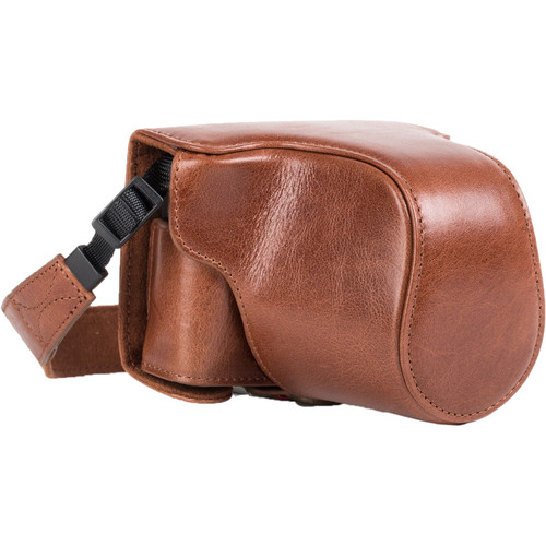 MegaGear Ever Ready Genuine Leather Case & Strap for Canon EOS M10 (Dark Brown)