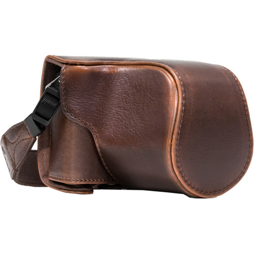 MegaGear Ever Ready PU Leather Case & Strap for Canon EOS M10 (Dark Brown)