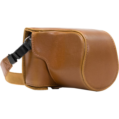 MegaGear Ever Ready PU Leather Case & Strap for Canon EOS M10 (Light Brown)