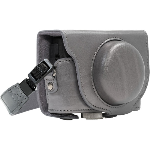 MegaGear Ever Ready PU Leather Camera Case and Strap for Sony Cyber-shot DSC-RX100 VI, V, IV, III (Gray)